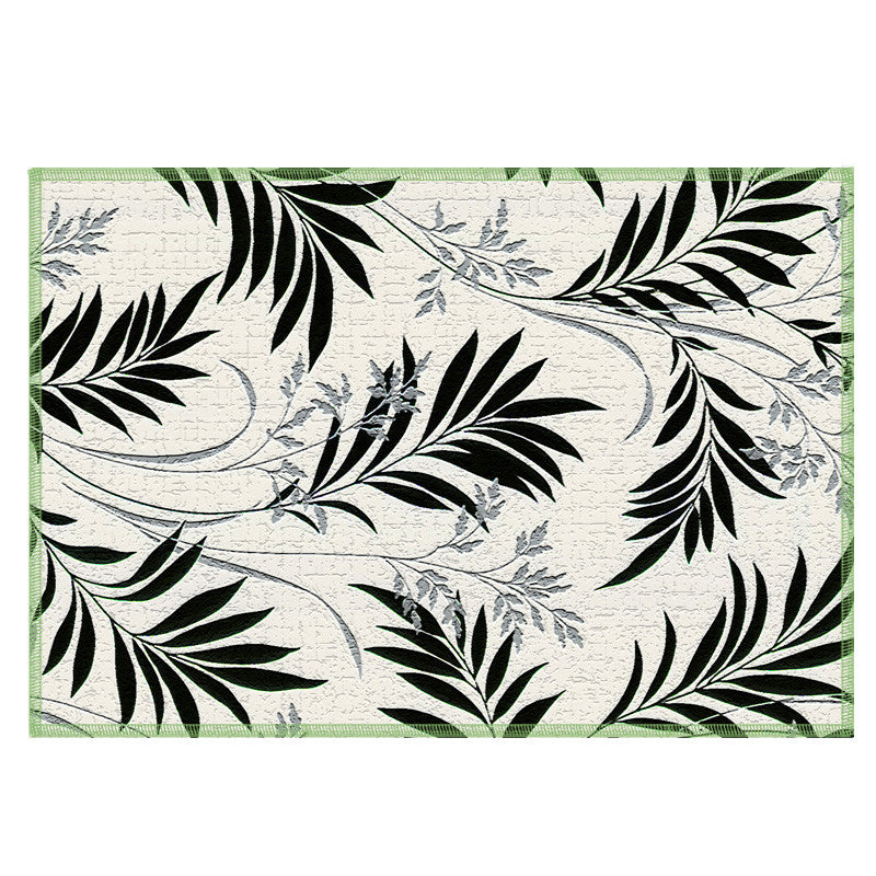 Leaf Designs Black White Floral Fabric Table Mats Set Of 6