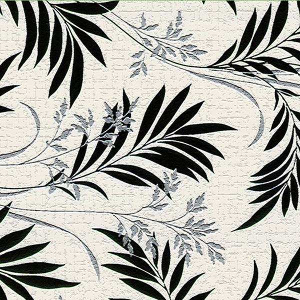 Leaf Designs Black & White Floral Fabric Table Mats - Set Of 6