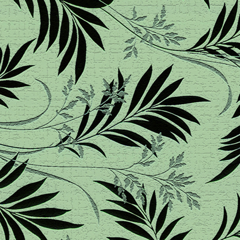 Leaf Designs Black & Green Floral Fabric Table Mats - Set Of 6