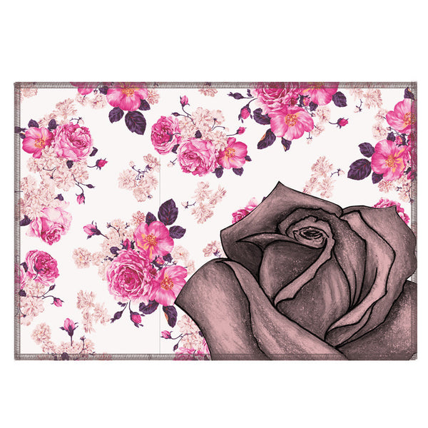 Leaf Designs Pink Rose Floral Fabric Table Mats - Set Of 6