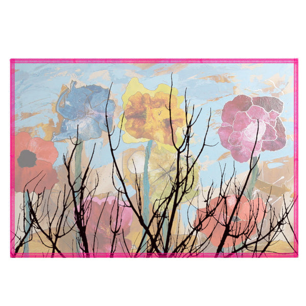 Leaf Designs Water Colour Multi Floral Fabric Table Mats - Set Of 6