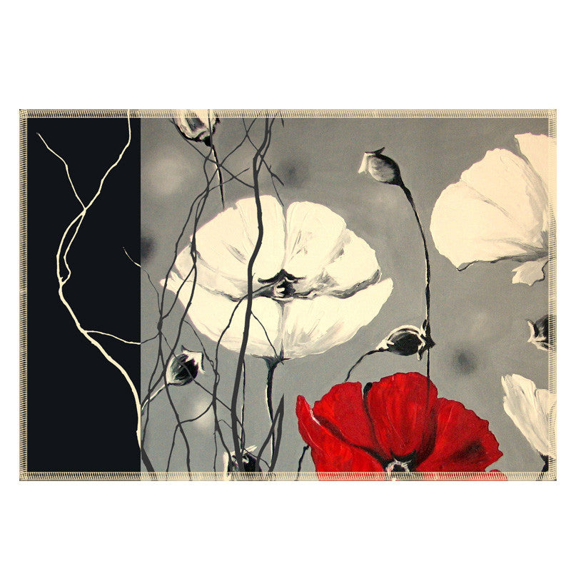 Leaf Designs Grey & Red Floral Fabric Table Mats - Set Of 6