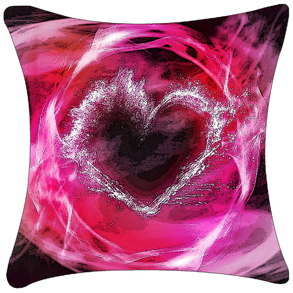 Leaf Designs Uprising Pink Heart Cushion Cover