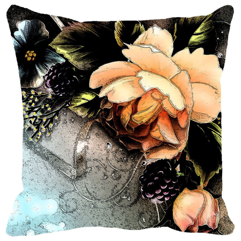 Peach Flowers Cushion Cover