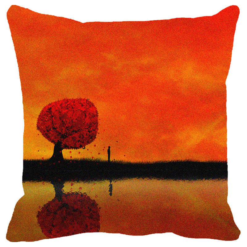 Red Tree Cushion Cover