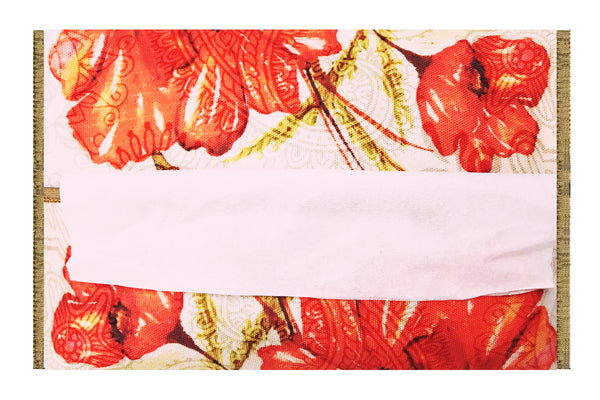 Leaf Designs Red & Green Floral Tissue Cover