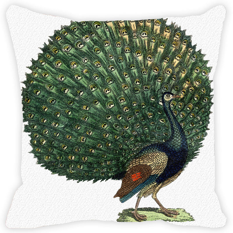 Leaf Designs Dancing Peacock Cushion Cover