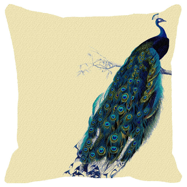 Leaf Designs Blue Peacock Cushion Cover