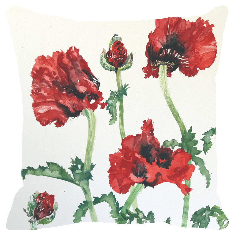 Leaf Designs Red And Green Floral Cushion Cover I