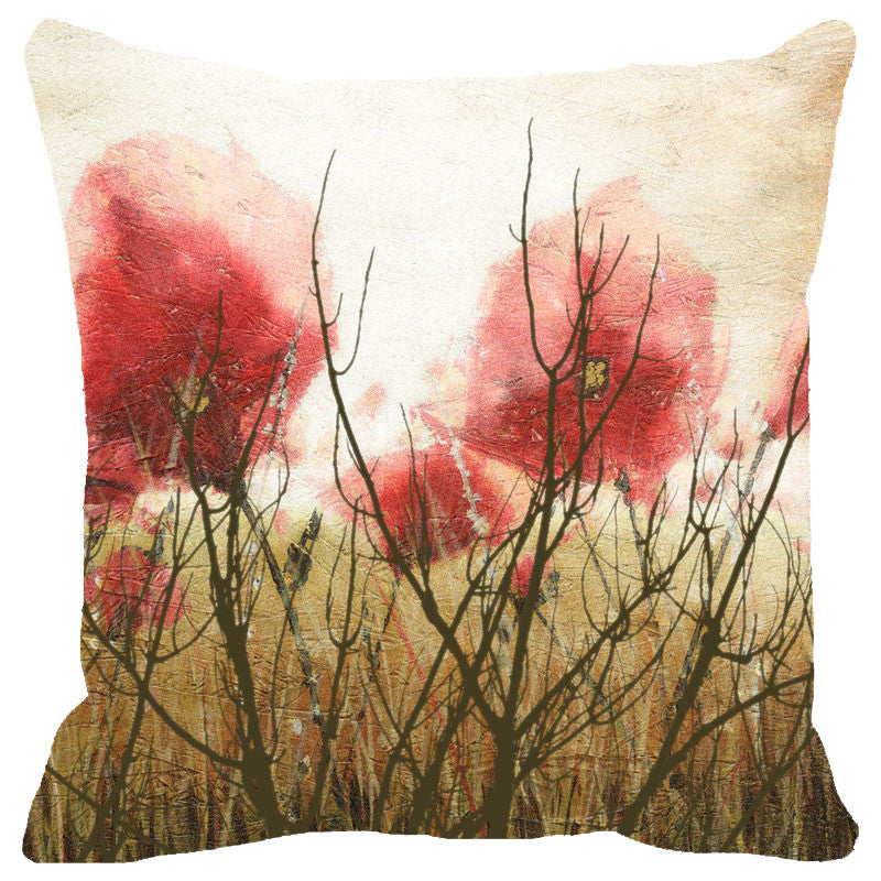 Leaf Designs Misty Red Floral Cushion Cover
