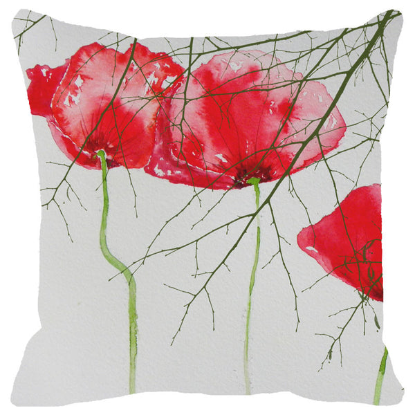 Leaf Designs Spring Red Floral Cushion Cover