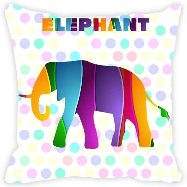 Leaf Designs Multicoloured Elephant Cushion Cover