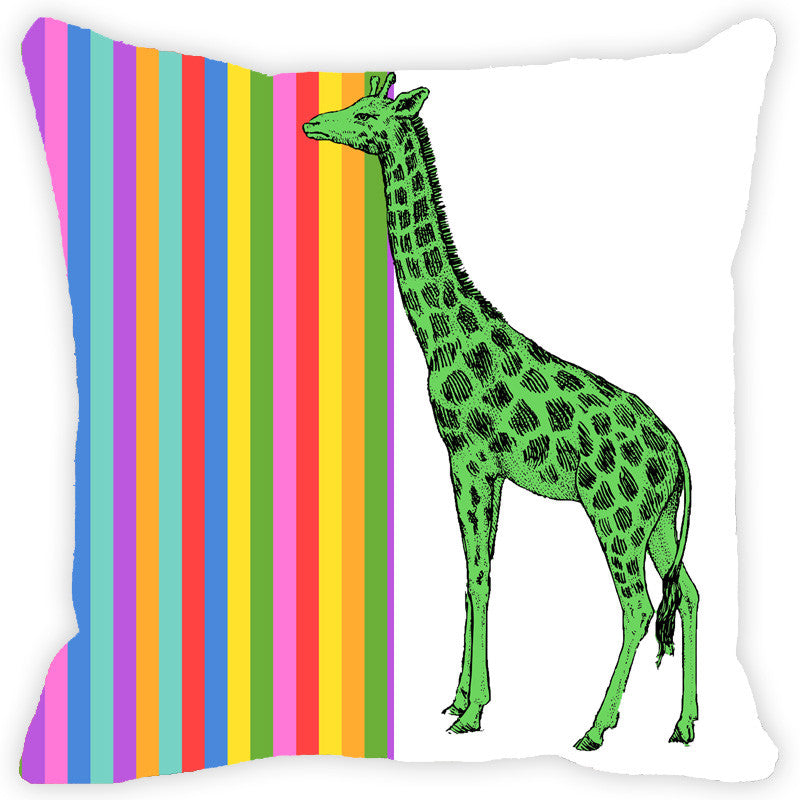 Leaf Designs Multicoloured Stripes Giraffe Cushion Cover