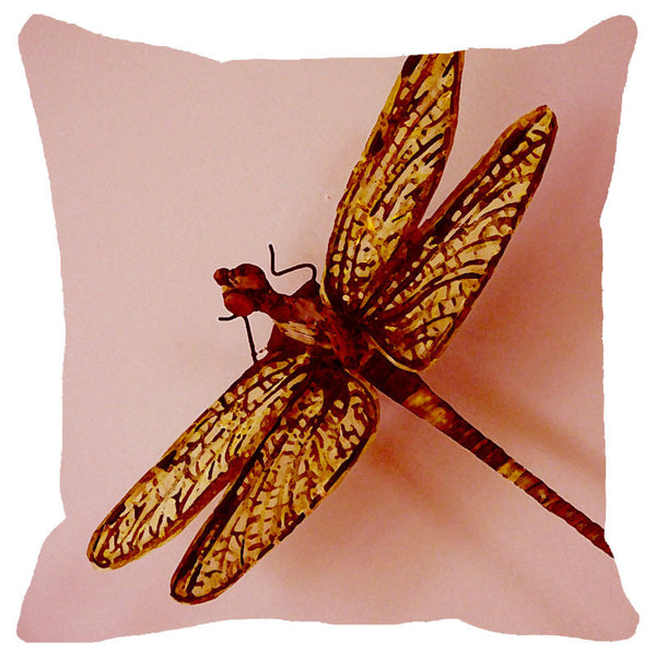Leaf Designs Golden Dragonfly Cushion Cover