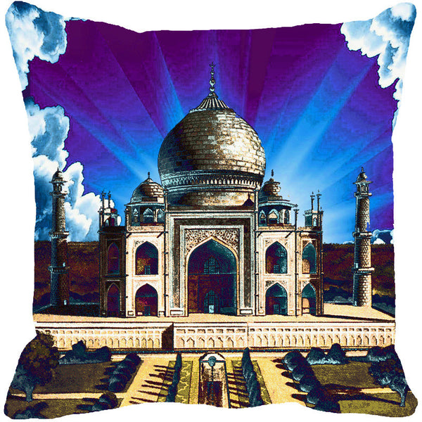 Leaf Designs Taj Mahal Blue Cushion Cover