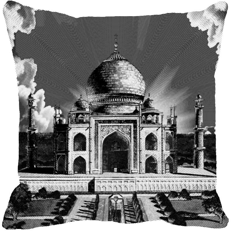Leaf Designs Taj Mahal Grey Cushion Cover