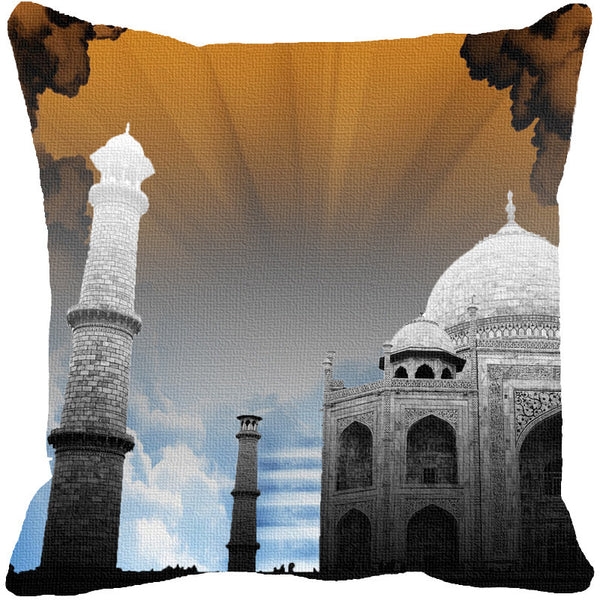 Leaf Designs Taj Mahal Brown Cushion Cover