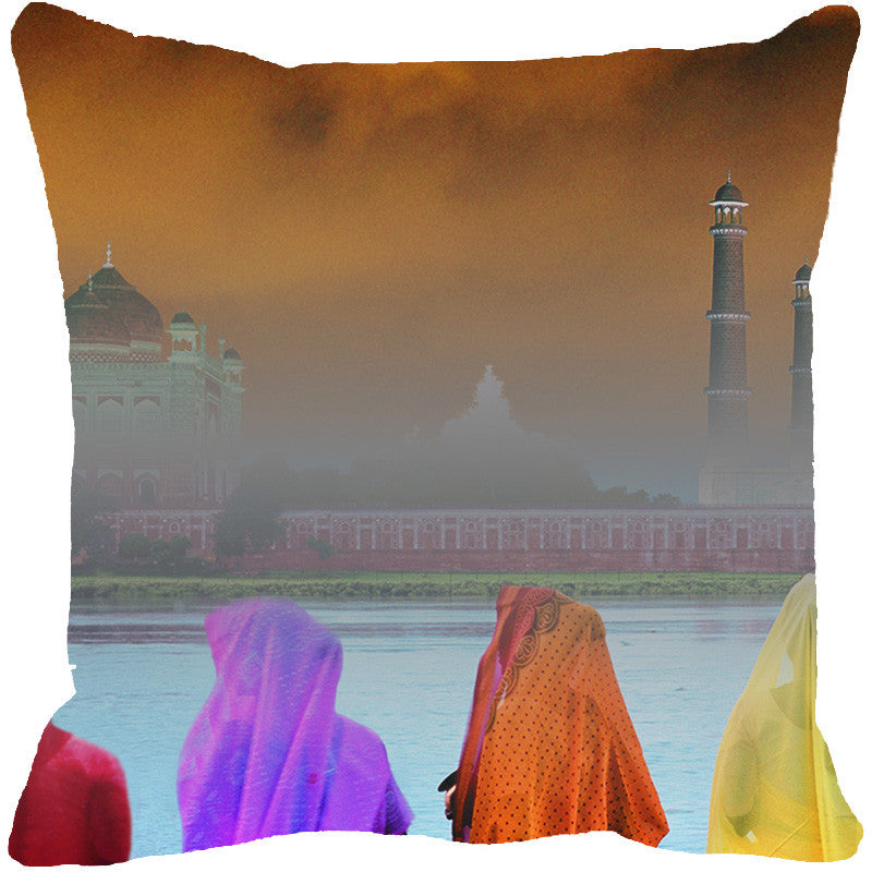 Leaf Designs Taj Mahal River View Multi Colored Cushion Cover