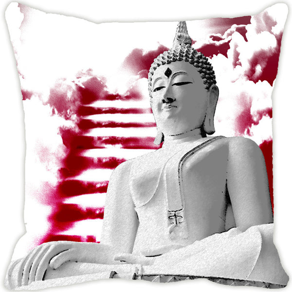 Leaf Designs Buddha Red Cushion Cover