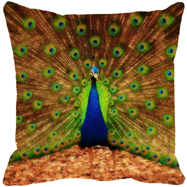 Leaf Designs Dancing Peacock Multi Colored Cushion Cover