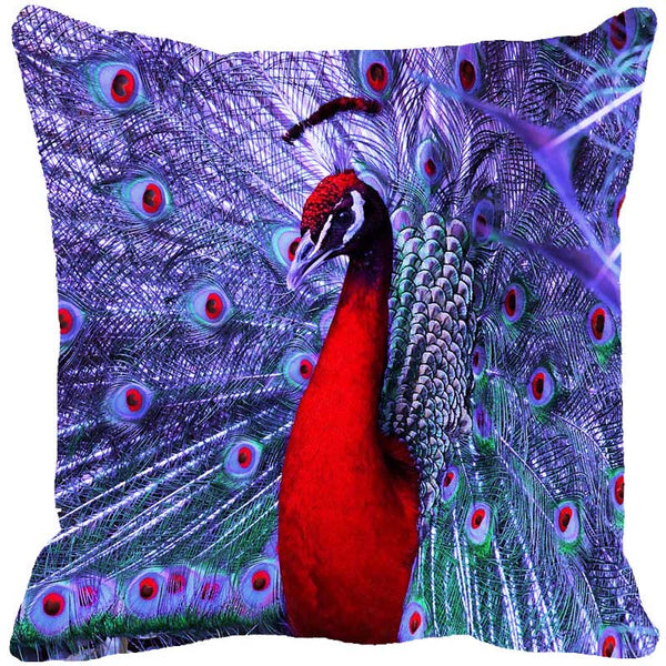 Leaf Designs Dancing Peacock Purple Cushion Cover