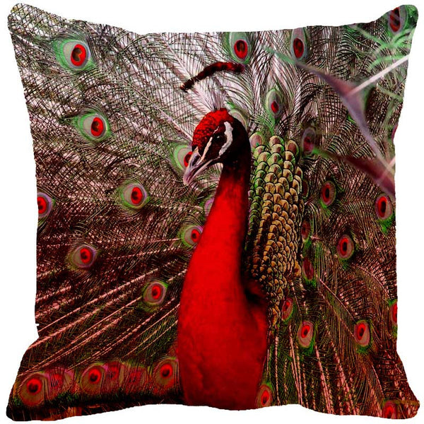 Leaf Designs Dancing Peacock Red Cushion Cover