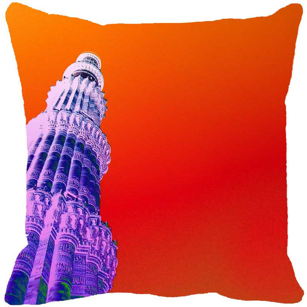 Leaf Designs Qutub Minar Orange Cushion Cover