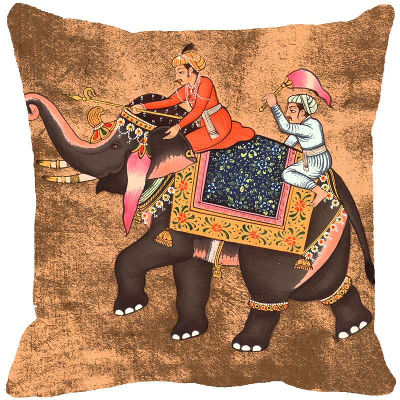 Leaf Designs Miniature Elephant Beige Cushion Cover
