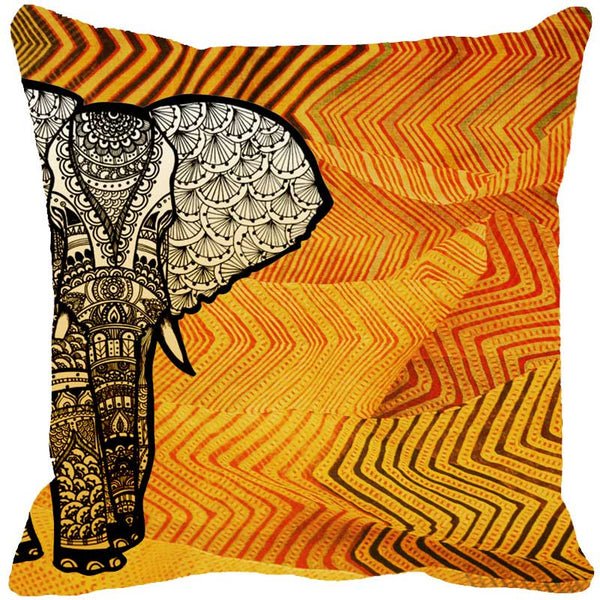 Leaf Designs Elephant Graphics Yellow Cushion Cover