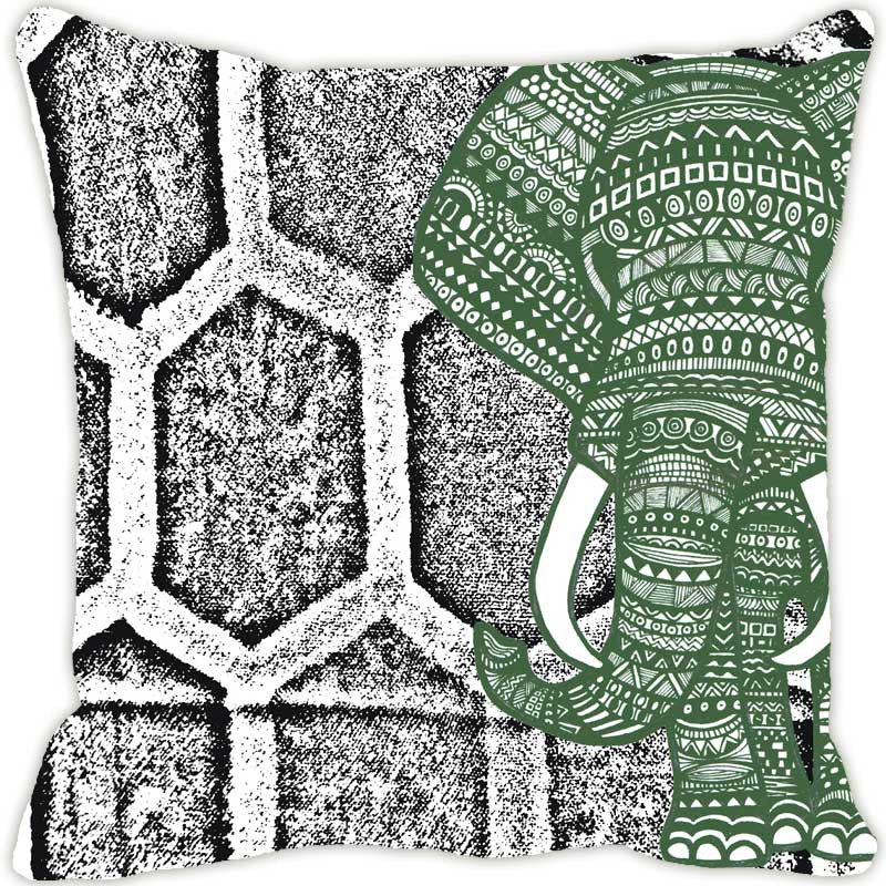 Leaf Designs Elephant Graphics Grey Cushion Cover