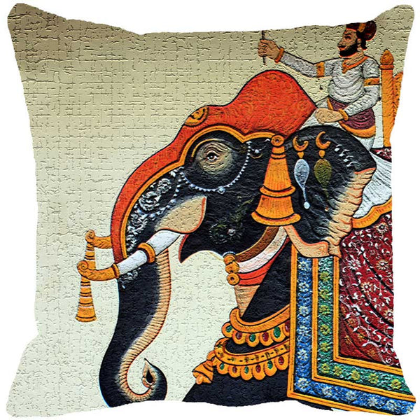 Leaf Designs Miniature Elephant Fawn Cushion Cover