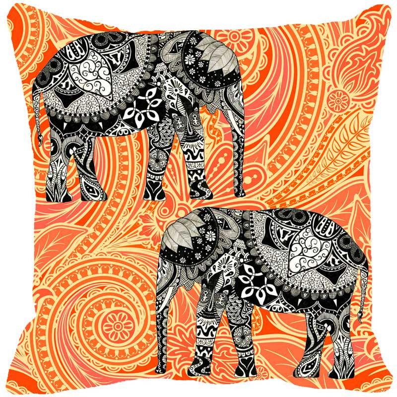 Leaf Designs Elephant Graphics Orange Cushion Cover