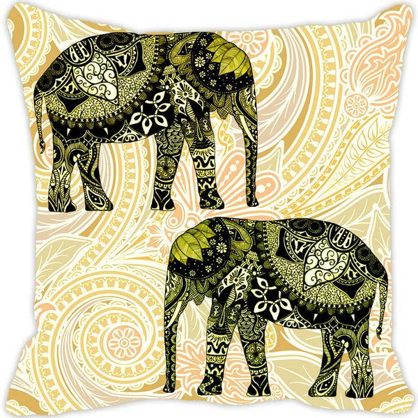 Leaf Designs Elephant Graphics Green Cushion Cover