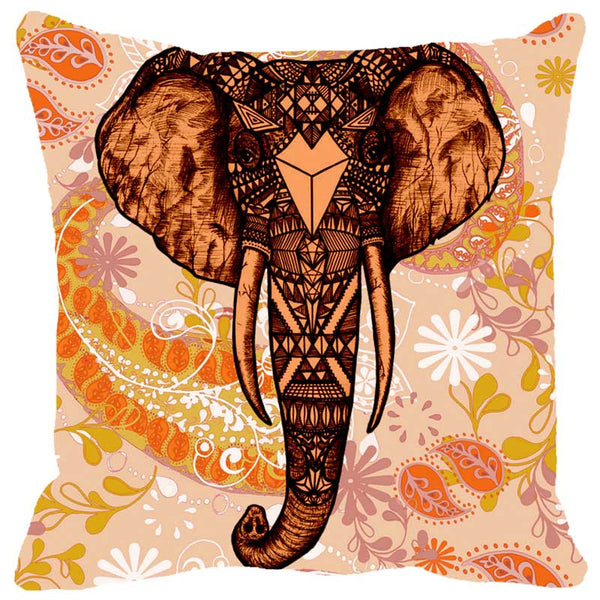 Leaf Designs Elephant Head Orange Cushion Cover