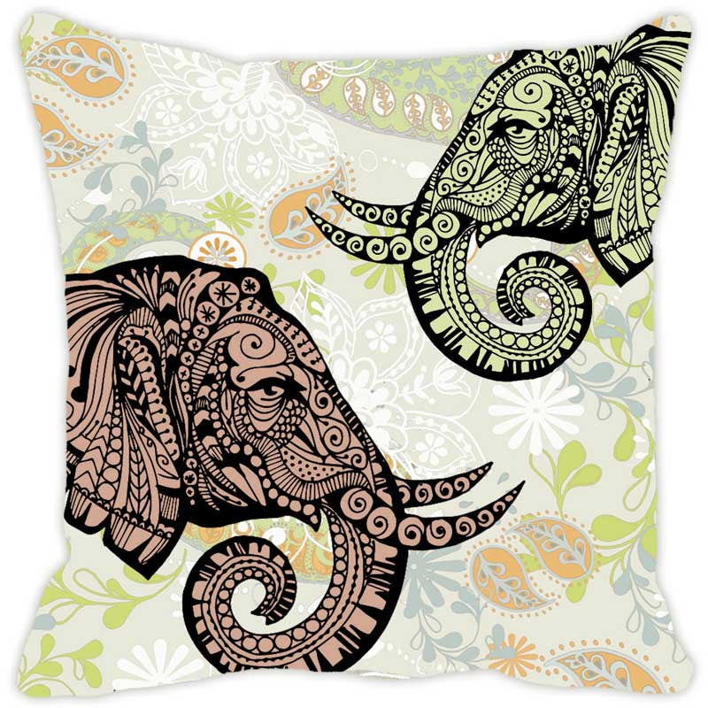 Leaf Designs Elephant Head Multi Colored Cushion Cover