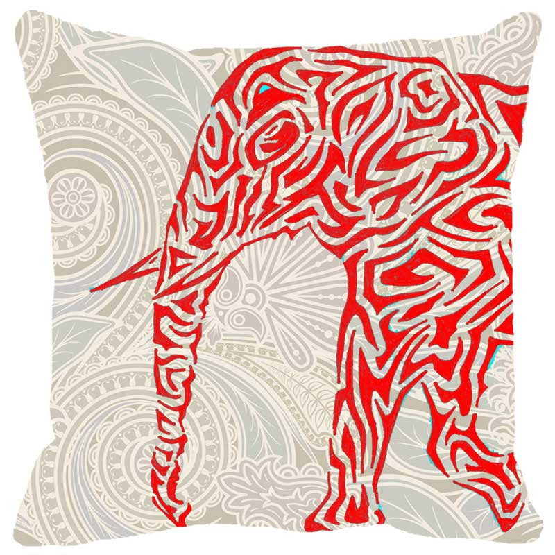 Leaf Designs Elephant Graphics Red Cushion Cover