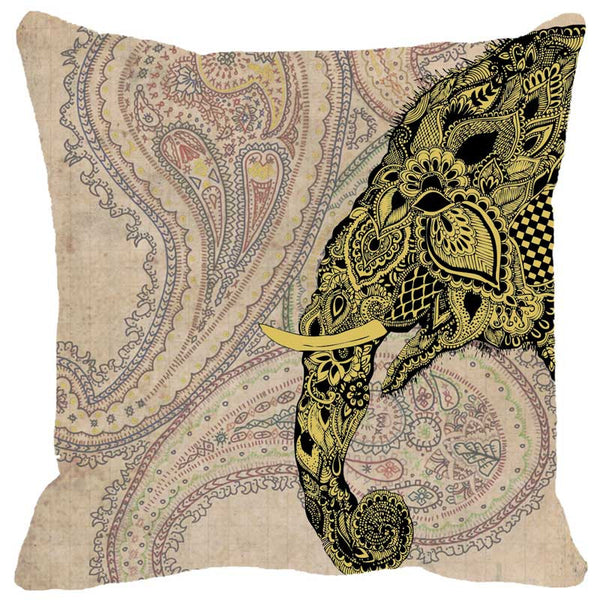 Leaf Designs Elephant Head Green Cushion Cover
