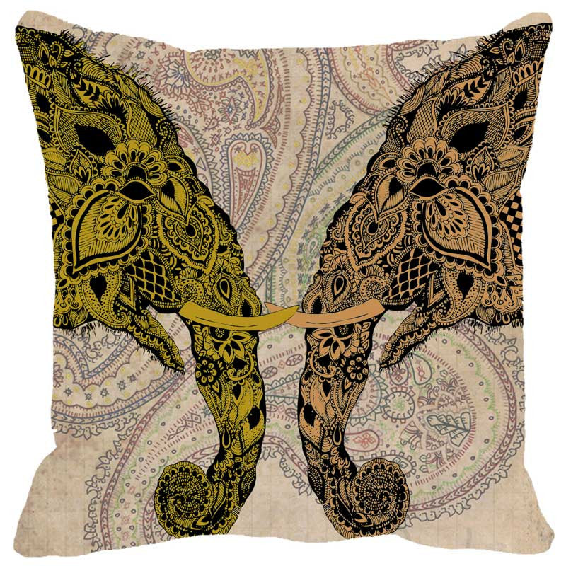 Leaf Designs Elephant Head Beige Cushion Cover