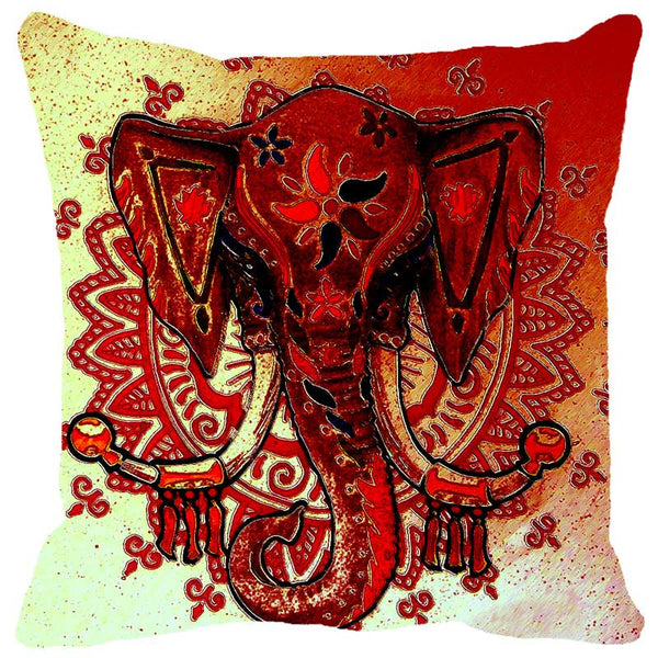 Leaf Designs Ganesha Red Cushion Cover