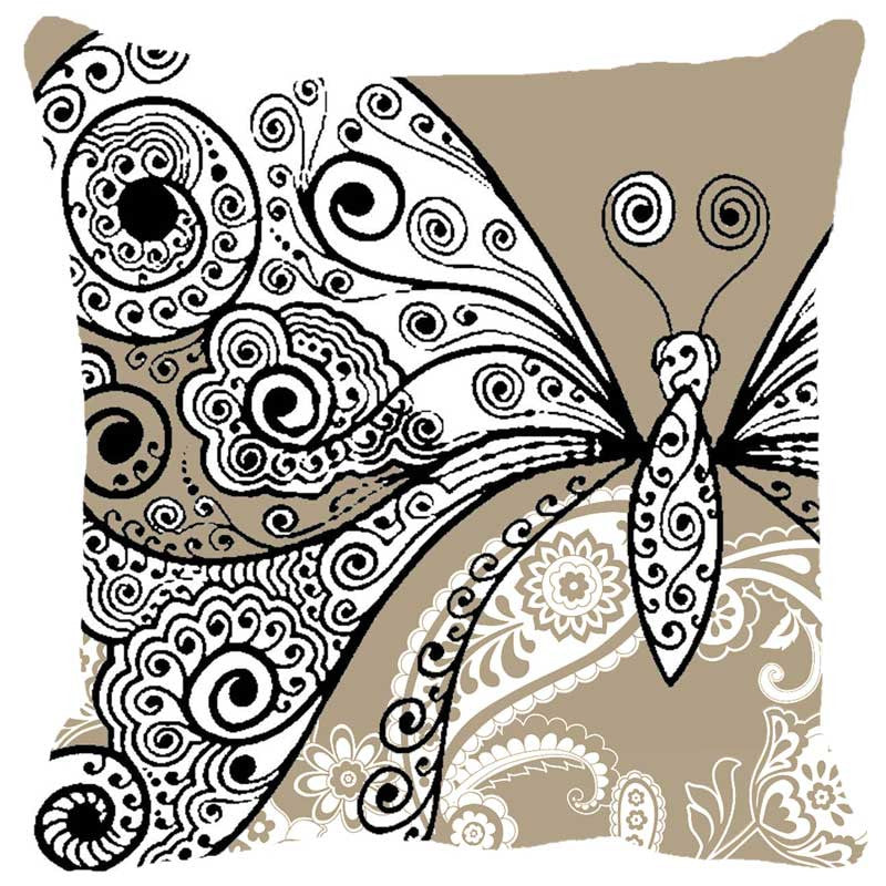 Leaf Designs Butterfly Beige Cushion Cover