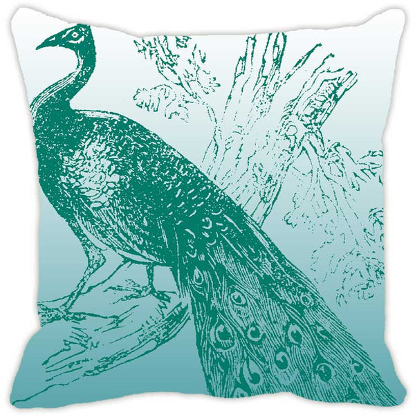 Leaf Designs Peacock Monochrome Blue Cushion Cover