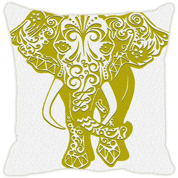 Leaf Designs Elephant Monochrome Green Cushion Cover