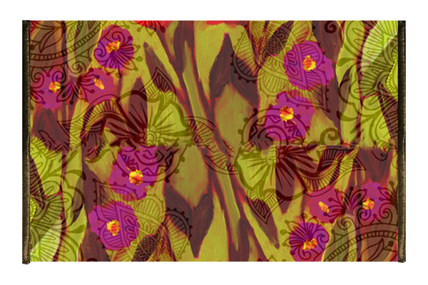 Leaf Designs Magenta & Green Floral  Tissue Cover