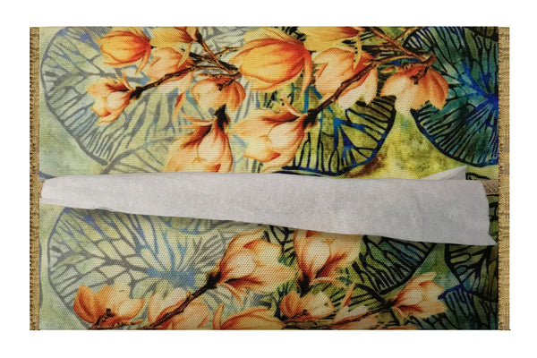Leaf Designs Orange & Blue Floral Tissue Cover