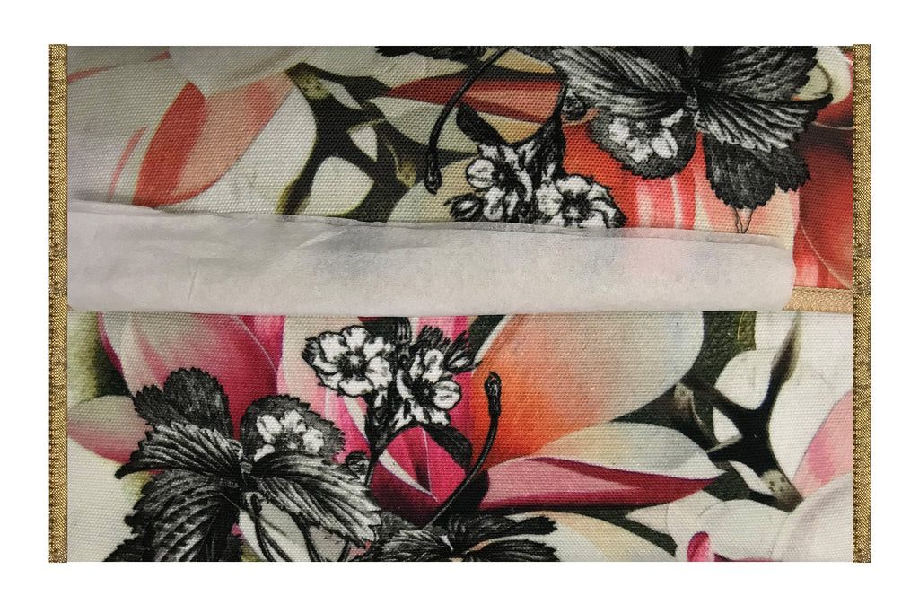 Leaf Designs Grey & Red Floral  Tissue Cover