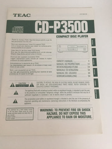 Teac CD-P3500 Compact Disc Player Owner's Manual
