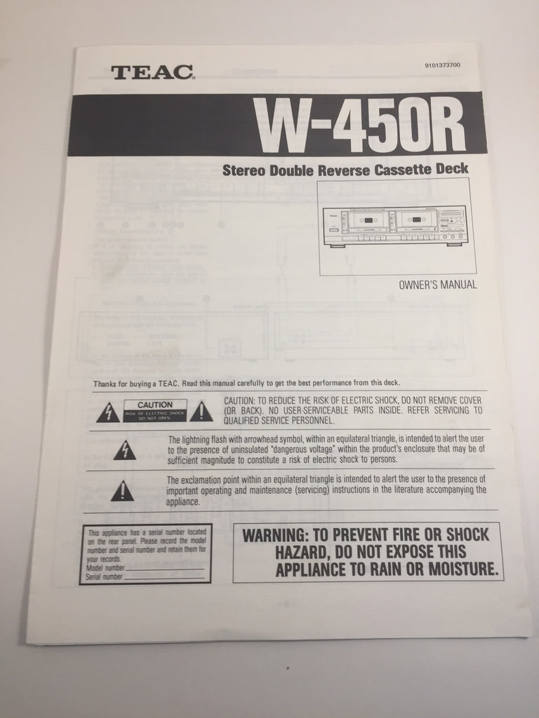 Teac W-450R Stereo Double Reverse Cassette Deck Owner's Manual