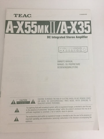 Teac A-X55 mk2/A-X35 DC Integrated Stereo Amplifier Owner's Manual
