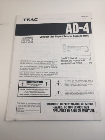 Teac AD-4 Compact Disc Player/Reverse Cassette Deck Owner's Manual