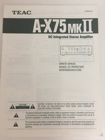 Teac A-X75 mk2 DC Integrated Stereo Amplifier Owner's Manual
